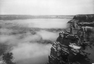 GRAND CANYON, c1905. Fog over the Grand Canyon in Arizona, near the El Tovar Hotel