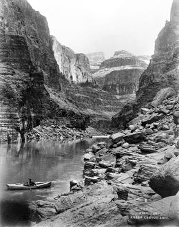 GRAND CANYON, c1913. A view of the Grand Canyon in Arizona, showing a man in a