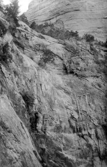 GRAND CANYON: CLIFFS. Ladders leading to cliff dwellings in the Grand Canyon in Arizona