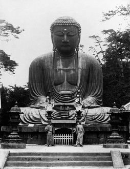 The Great Buddha of Kamakura, a bronze statue cast in 1252. Photograph, July 1900