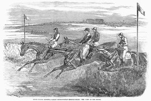 Great Metropolitan Steeplechase at Epsom, England. Wood engraving, 1850