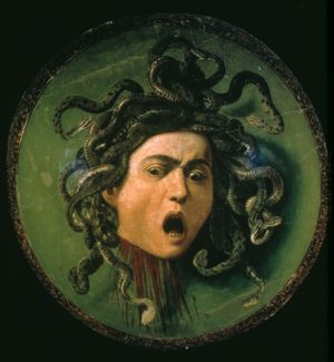 HEAD OF MEDUSA by Caravaggio: oil on canvas, 1596