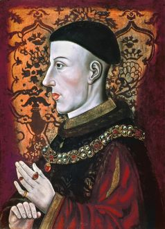 HENRY V (1387-1422). King of England, 1413-1422. Oil on panel by an unknown artist