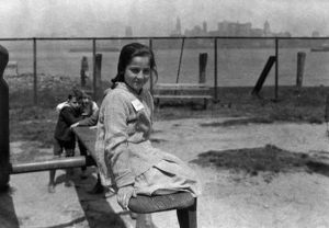 HINE: ELLIS ISLAND, c1915. Immigrant children playing on a playground at Ellis Island