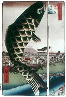 HIROSHIGE: KITES, 1857. Carp kites flown from masts
