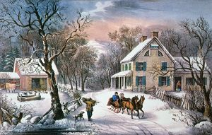 HOMESTEAD WINTER, 1868. Lithograph, 1868, by Currier & Ives.