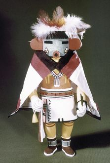 HOPI KACHINA DOLL. Talavai (Morning Singer), a Hopi spirit or Kachina, dressed in a cape