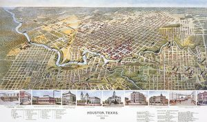 HOUSTON, TEXAS, 1891. Bird's eye view of the city of Houston, Texas