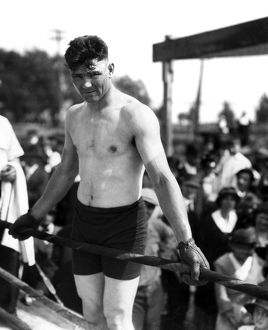 JACK DEMPSEY (1895-1983). American boxer. Photographed in training camp, May 1919