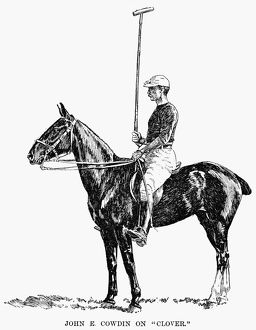 'John E. Cowdin on 'Clover.'' Line drawing, American