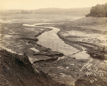 JOHNSTOWN FLOOD, 1889. Bed of Lake Conemaugh, looking from top of the broken South