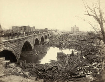 JOHNSTOWN FLOOD, 1889. Debris at the Pennsylvania Railroad Bridge in Johnstown