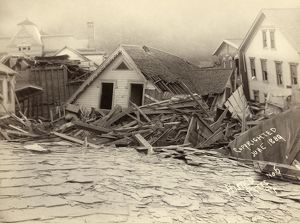 JOHNSTOWN FLOOD, 1889. The house of George Hamilton, assistant superintendent at