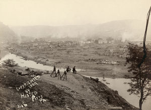 JOHNSTOWN FLOOD, 1889. Military post on Kernville Hill overlooking the ruins of