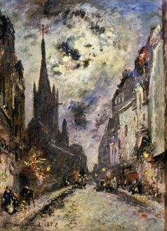 JONGKIND: ST. SEVERIN, 1877. The street and church of St. Severin, 1877. Oil on canvas by J