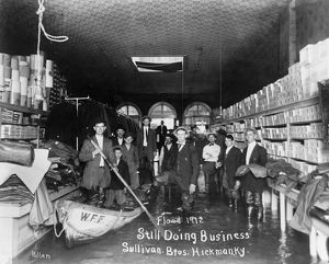 KENTUCKY: FLOOD, 1912. People inside the Sullivan Brothers' store in Hickman, Kentucky