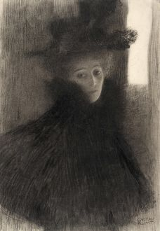 KLIMT: PORTRAIT OF A LADY. 'Portrait of a Lady with Cape and Hat.' Chalk