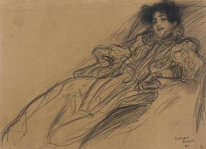 KLIMT: YOUNG WOMAN, 1896. 'Young Woman in an Armchair