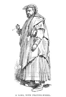 A lama of Tibet with prayer wheel. Drawing, English, 1895.