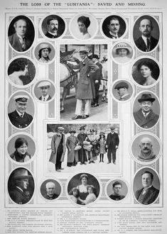 LUSITANIA: PASSENGERS. Prominent passengers, saved and missing, from the Cunard liner