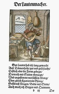 LUTE MAKER, 1568. Woodcut, 1568, by Jost Amman
