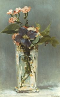 MANET: CARNATIONS, c1882. Edouard Manet: Carnations and Clematis in a Crystal Vase