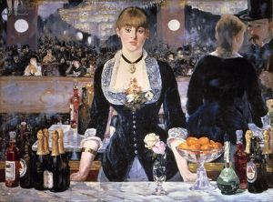 MANET: FOLIES-BERGERES. The Bar at Folies-Bergeres. Oil on canvas by Edouard Manet
