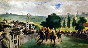 MANET: LONGCHAMPS, 1867. 'Race at Longchamps (Paris).' Oil on canvas by Edouard Manet