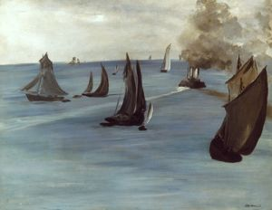 MANET: MARINE, 1864-65. Edouard Manet: Steamboat, Marine or View of the Sea. 1864-65.