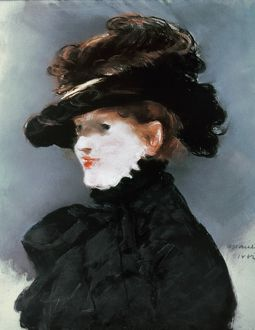MANET: MERY LAURENT. Portrait of Mery Laurent. Oil on canvas by Edouard Manet.