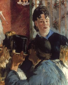 MANET: WAITRESS, 1878-9. Waitress Serving Bock. Oil on canvas by Edouard Manet.