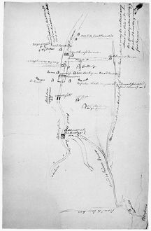 Map of the British encampment at 'Prince Town,' New Jersey, obtained by a