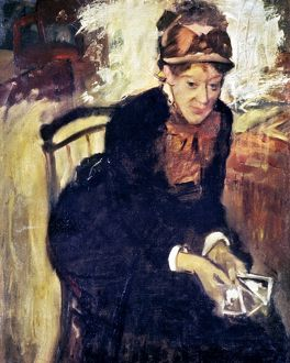 MARY CASSATT (1845-1926). Oil on canvas, c1880, by Edgar Degas.