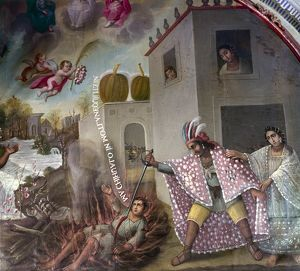 MEXICO: CHRISTIAN MARTYR. Native Mexican chief, Acxotecatl, slaying his own 12 year