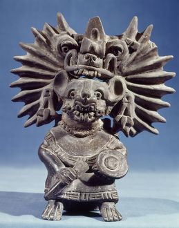 MEXICO: VAMPIRE GODDESS. Bat vampire goddess. Black ceramic figure typical of the Zapotec culture