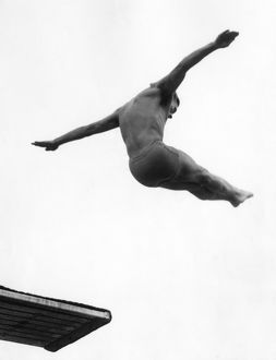 MILLER ANDERSON (1922-1965). American diver, competing in the men's 3 meter springboard
