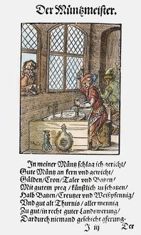 MINTING COINS, 1568. The officer of the mint minting coins