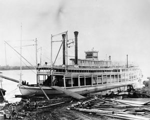 MISSISSIPPI STEAMBOAT, c1896. The 'Bluff City,' sternwheel steamboat of the