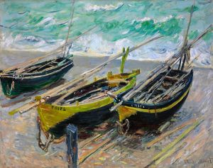 MONET: THREE FISHING BOATS. Oil on canvas, Claude Monet, 1886