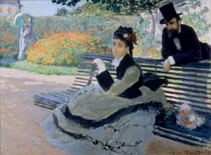 MONET: GARDEN BENCH, 1873. Claude Monet: Camille Monet on a Garden Bench. Oil on canvas