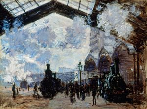 MONET: GARE ST-LAZARE, 1877. Oil on canvas by Claude Monet.
