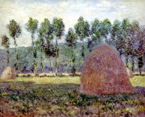 MONET: HAYSTACK, 1889. Haystack near Giverny. Oil on canvas by Claude Monet, 1889.