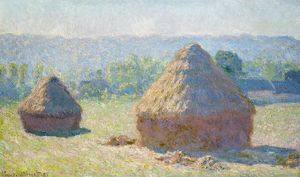 MONET: HAYSTACKS, 1891. 'Haystacks, end of Summer.' Oil on canvas, Claude Monet