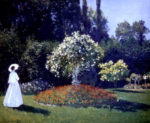 MONET: JEANNE/GARDEN, 1867. Claude Monet: Jeanne Marguerite LeCadre in the Garden