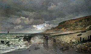 MONET: LOW TIDE, 1865. 'La Pointe de la Heve at Low Tide.' Oil on canvas