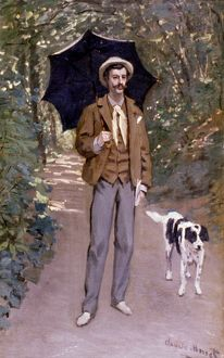 MONET: MAN WITH UMBRELLA. Claude Monet: Man with Umbrella. Oil on canvas. 1867.