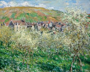 MONET: PLUM TREES, 1879. 'Flowering Plum Trees.' Oil on canvas, Claude Monet, 1879