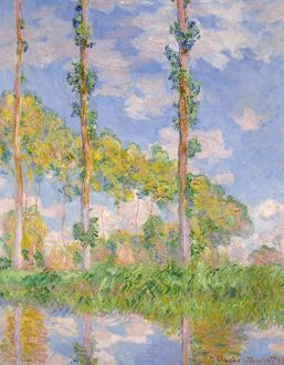 MONET: POPLARS IN THE SUN. Oil on canvas, Claude Monet, 1891