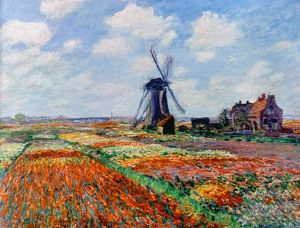 MONET: TULIP FIELDS, 1886. Claude Monet: Fields of Tulips in Holland. Oil on canvas, 1886.