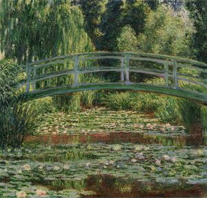 MONET: WATER LILY POOL, 1899. 'Japanese Footbridge and the Water Lily Pool, Giverny